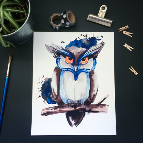 Affiche reproduction aquarelle hibou bleu