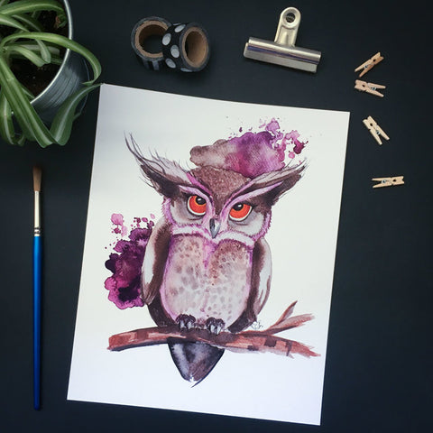 Affiche reproduction aquarelle hibou mauve