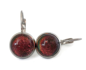 Boucles d'oreille leviers orange, en verre fusion