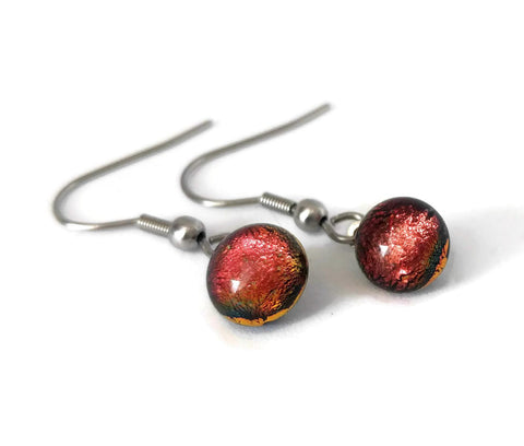 Boucles d'oreille orange, pendantes en verre fusion