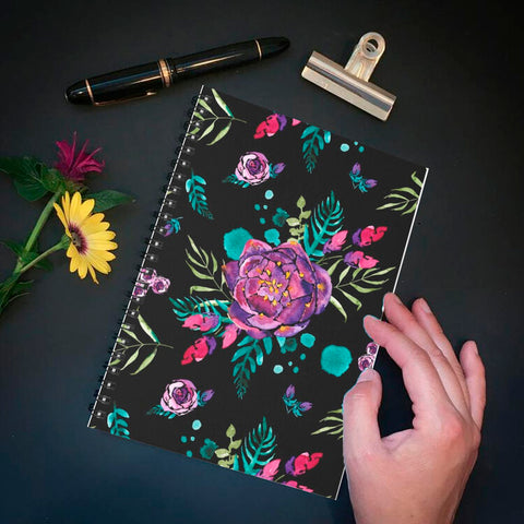 Carnet de notes spirale fleuri