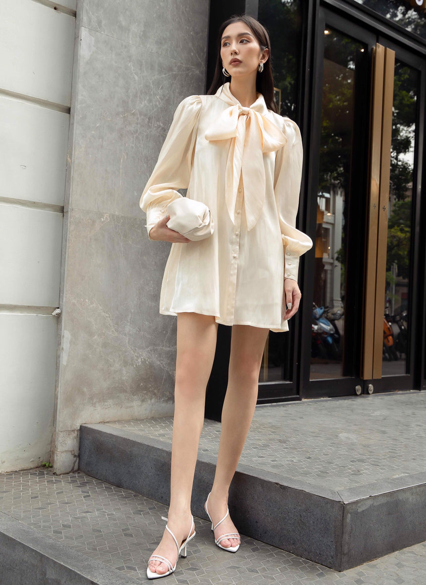 Shirt Dress With Bow - DTE