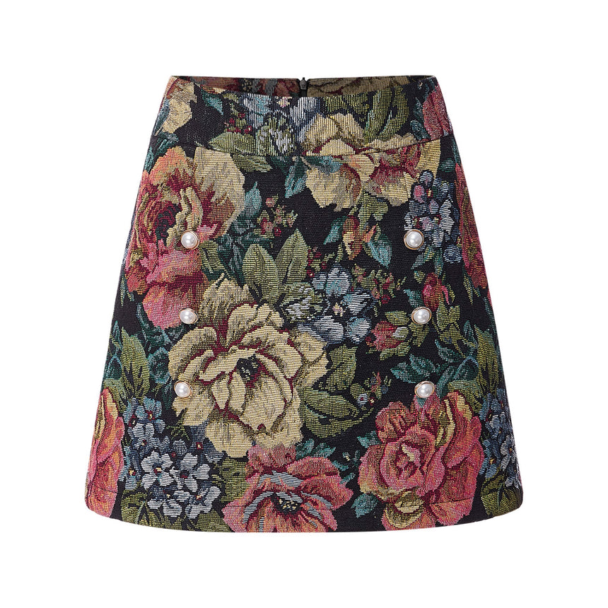 Mini Spring Skirt With Pearl Button - DTE