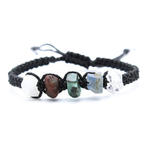 Cancer Zodiac Raw Gemstone Bracelet