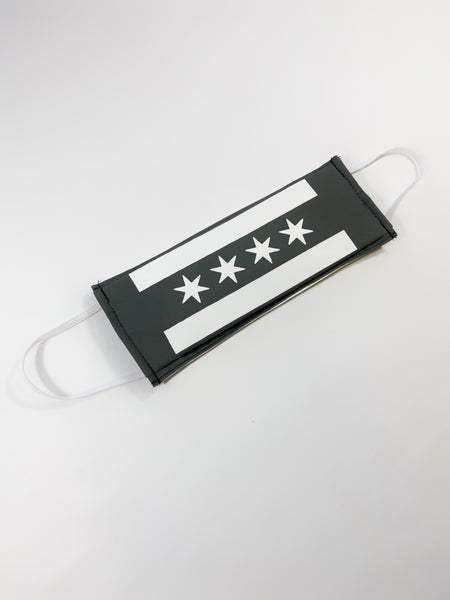 Grey & White Chicago Flag Face Mask