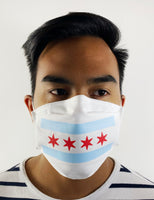 White Chicago Flag Face Mask