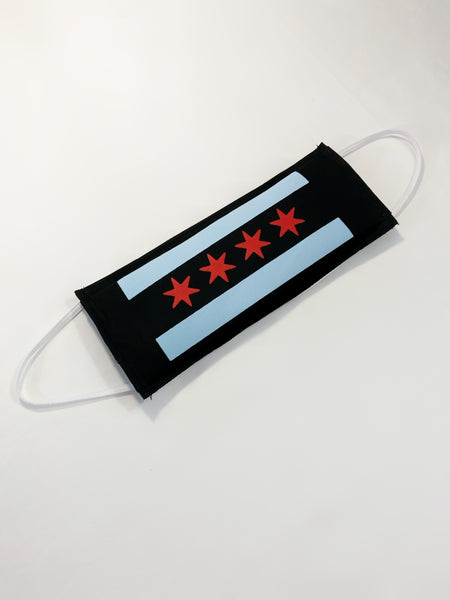 Black Chicago Flag Face Mask