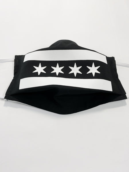 Black & White Chicago Flag Face Mask