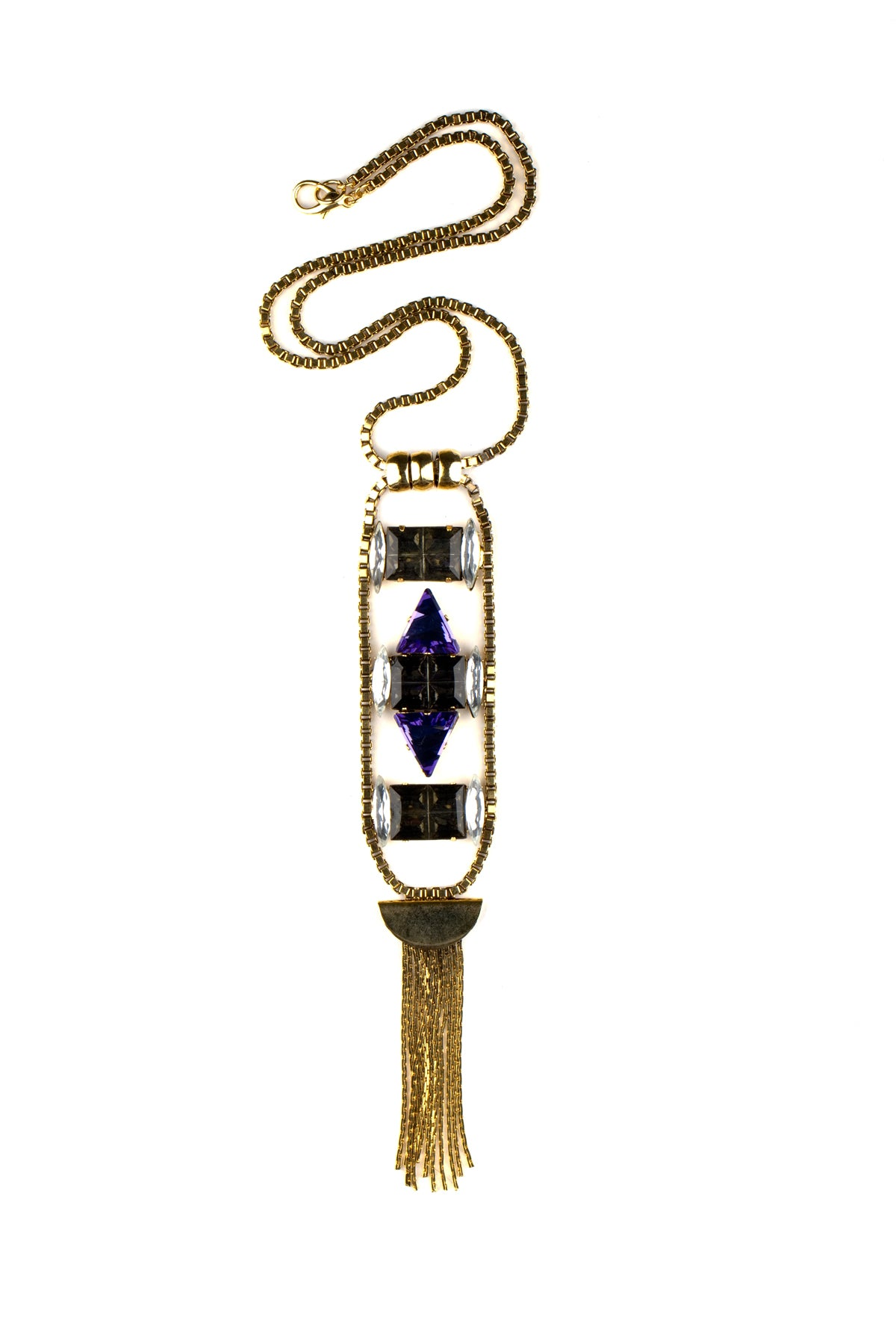 Precious Stone Drop Fringe Necklace