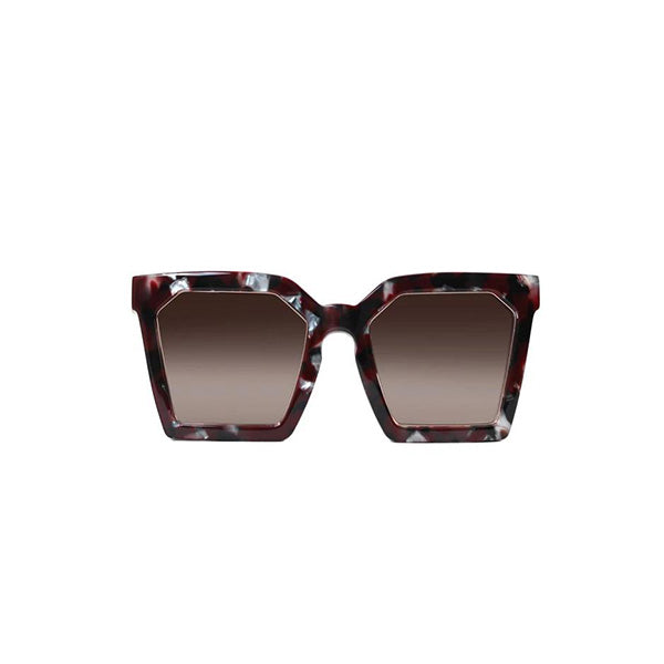 LAS ISLAS SQUARED SUNGLASSES IN RUBY