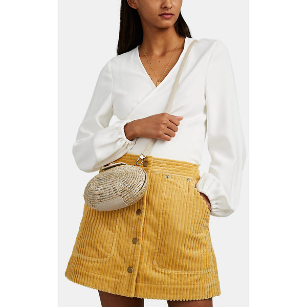 Lindi Smoke/White Leather-Trimmed Straw Shoulder Bag