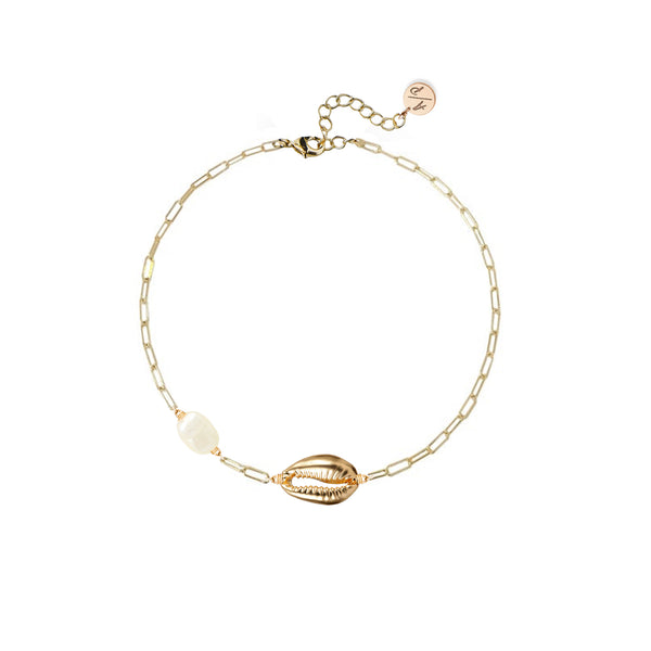Mini Shell Anklet with Pearl