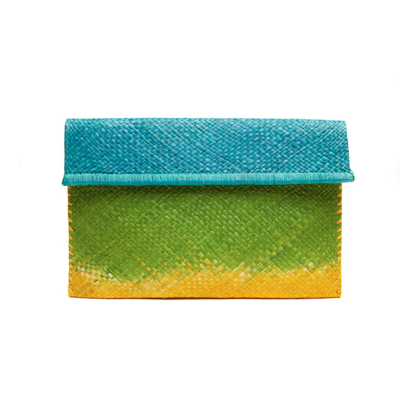 Ariel Ocean Straw Clutch Bag