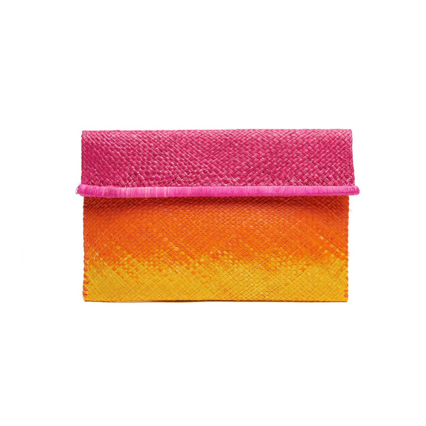 Ariel Pink Straw Clutch Bag