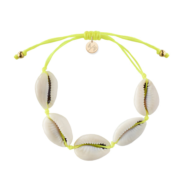 Natural Shell Bracelet in Neon Yellow