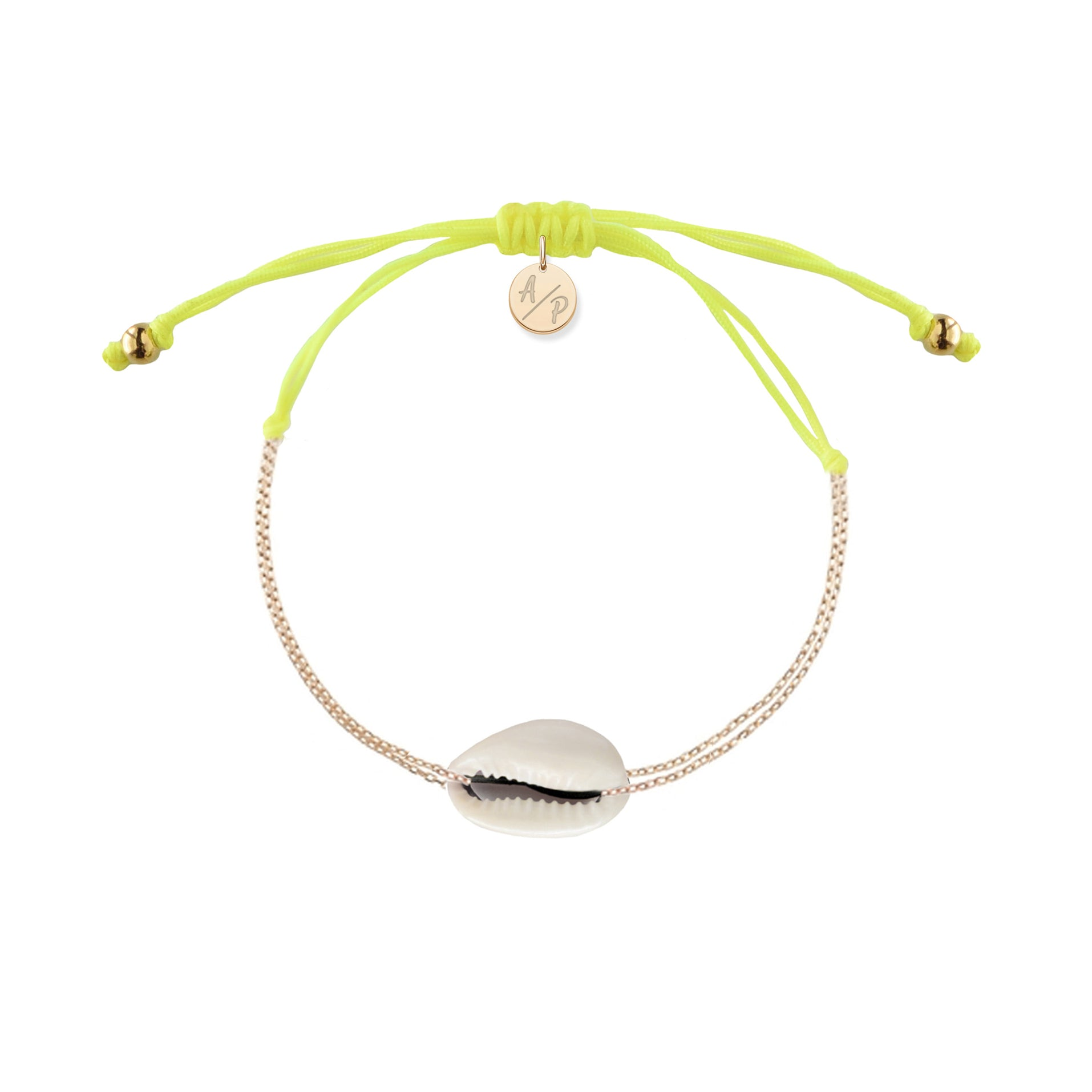 Mini Natural Shell Chain Bracelet Neon Yellow