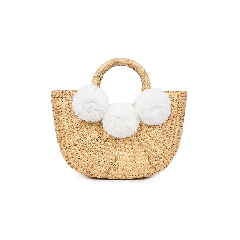 Mini White Pom Woven Basket