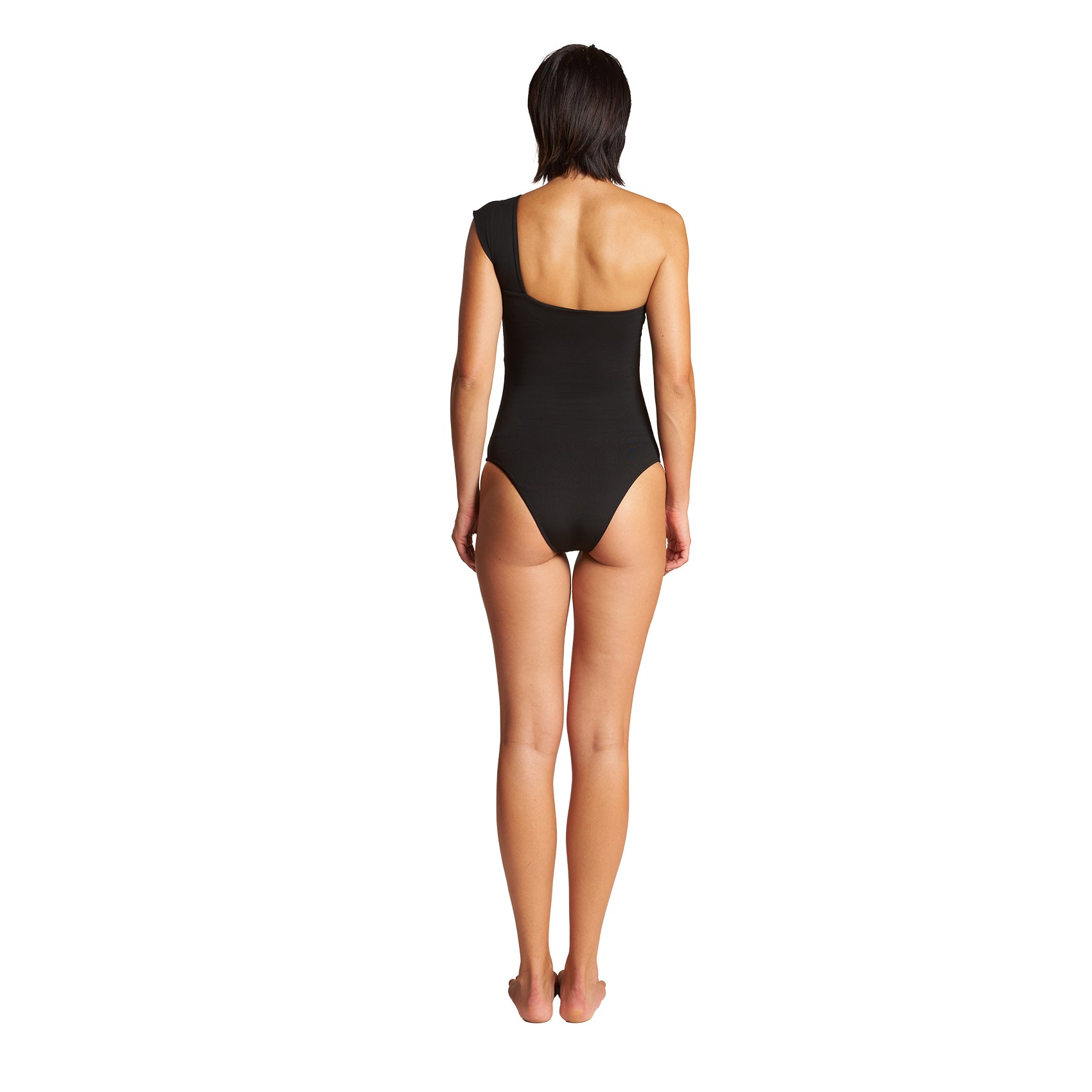 Caliope One Shoulder One Piece in Black