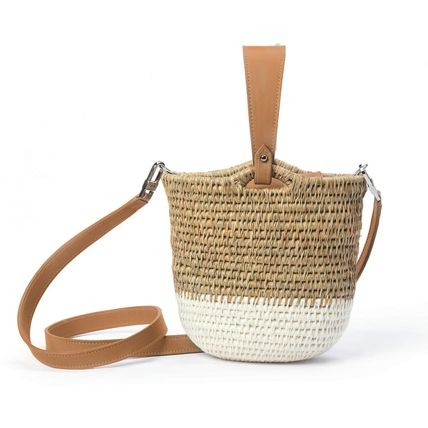 Zandi Sandstone Leather Trimmed Bucket Bag