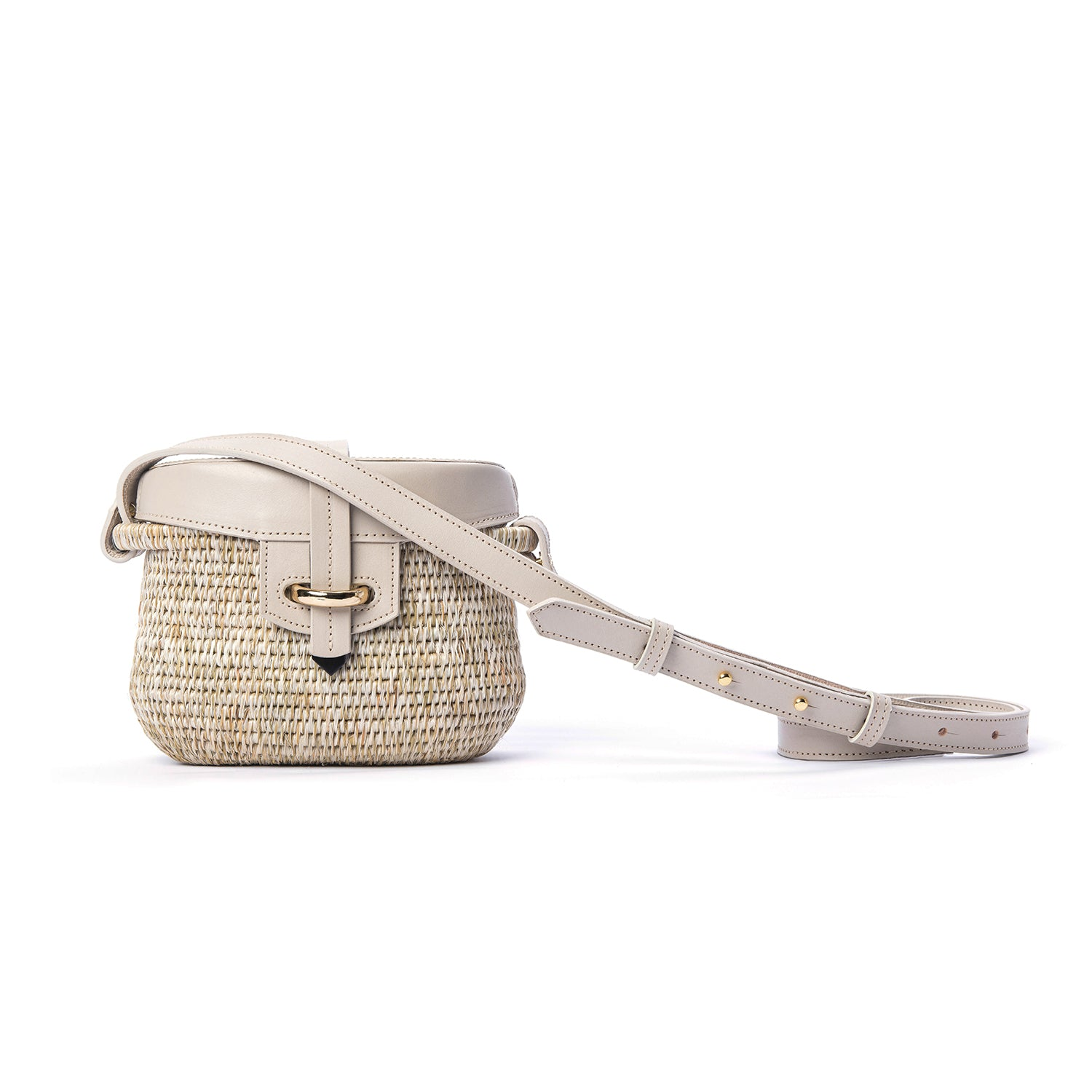 Jabu Smoke/White Leather Trimmed Straw Shoulder Bag