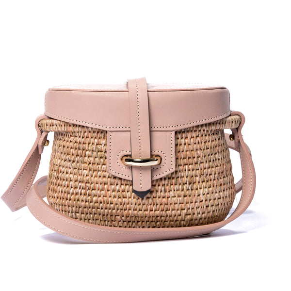Jabu Quartz Leather Trimmed Straw Shoulder Bag