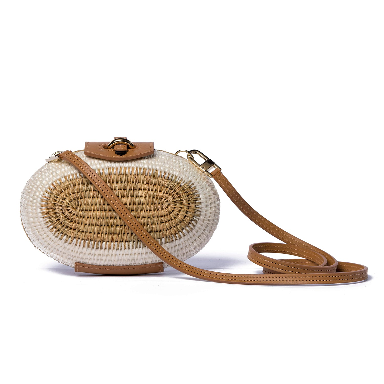 Lindi Sandstone Leather-Trimmed Straw Shoulder Bag