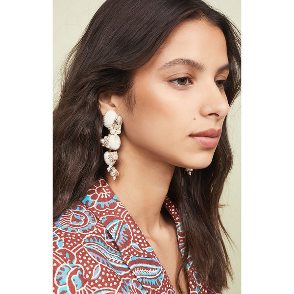 Unique Lightweight Handmade, Embroidered Shell Earrings by Deepa Gurnani