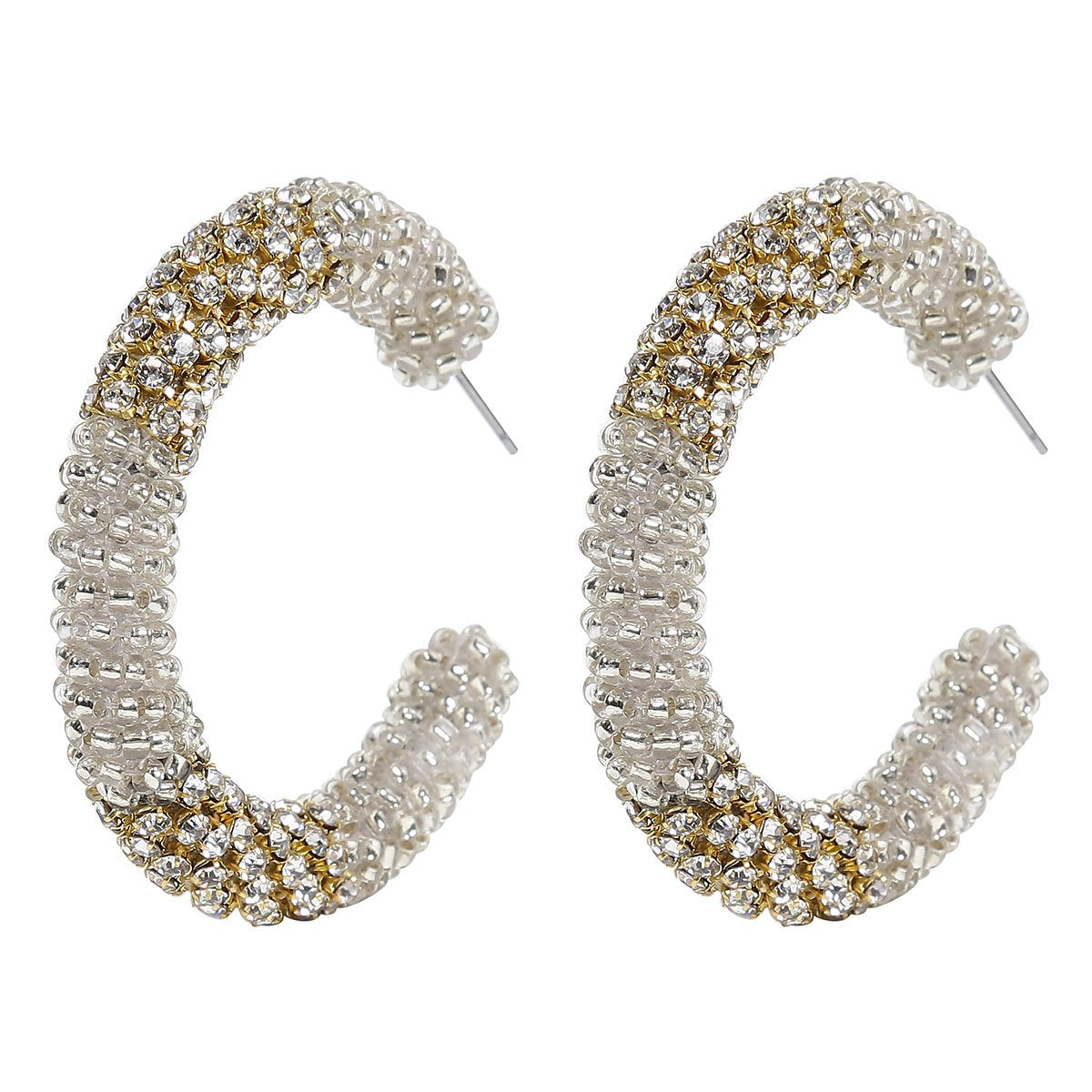 Deepa Gurnani Handmade Beaded Hoop Earrings