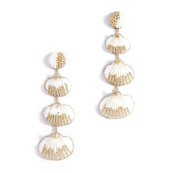 Tiered shell earrings with gold accents