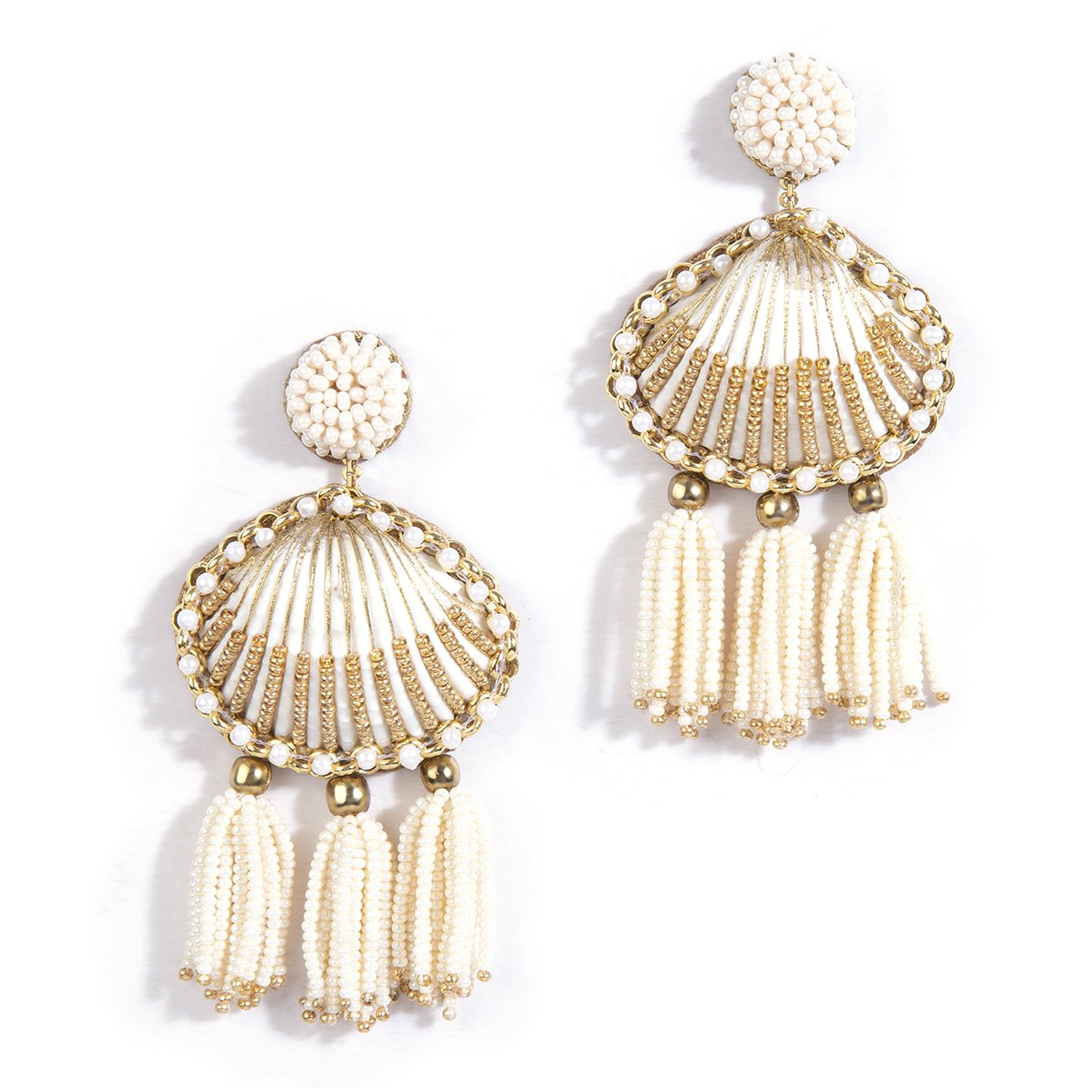 handmade gold beaded shell earrings