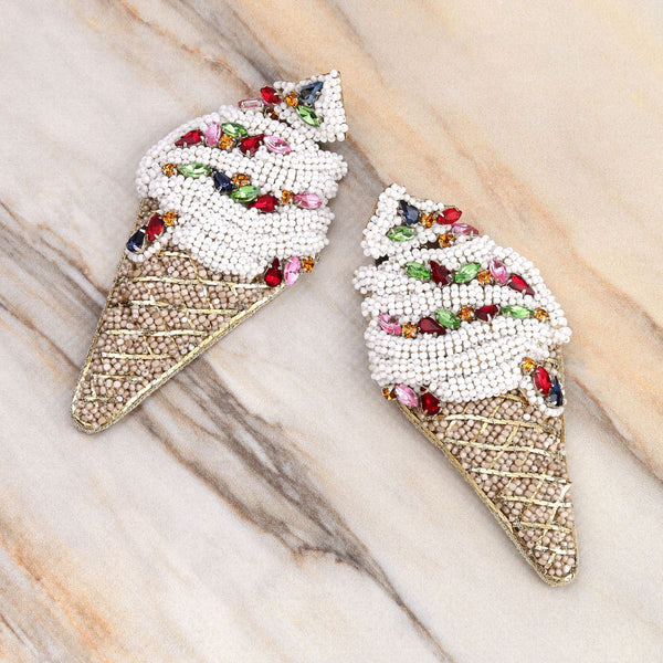 Deepa Gurnani Handmade Ice Cream Cone Earrings on Marble Background