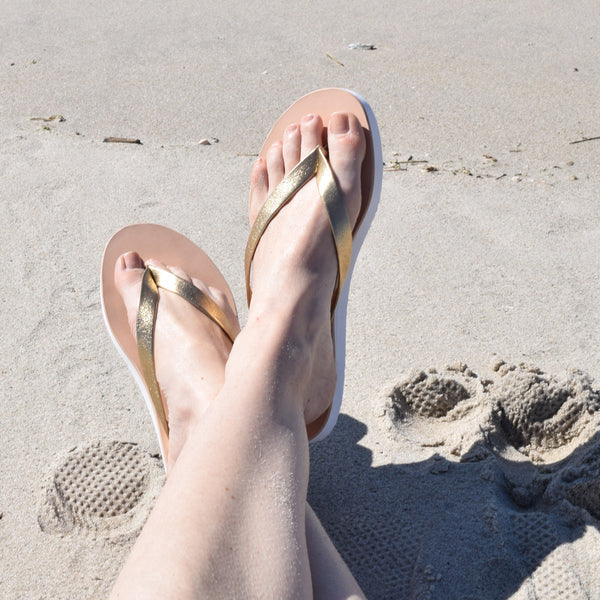 Eva Gold Leather Flip Flop