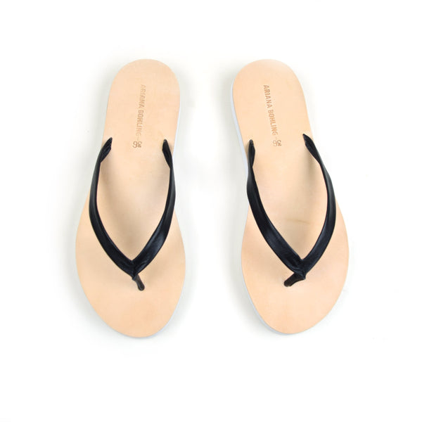 Eva Black Leather Flip Flop