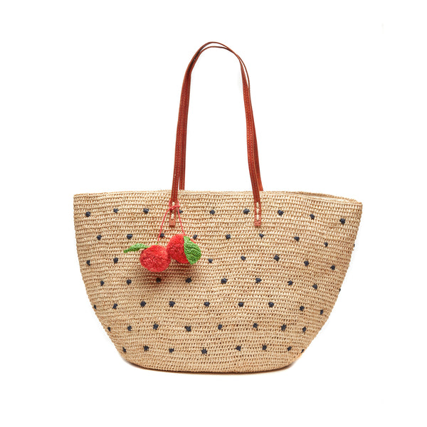 Florence Navy Straw Tote Bag