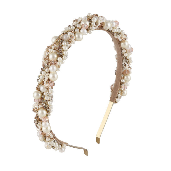 Hand Embroidered Pearl Headband