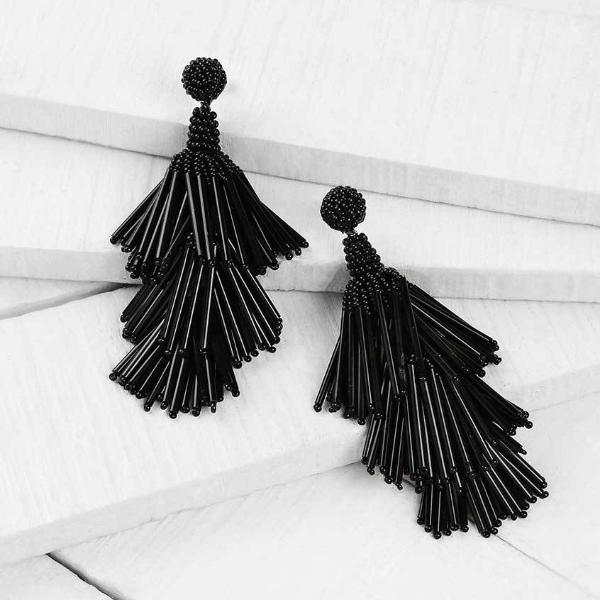Deepa by Deepa Gurnani Handmade Black Rain Earrings Lifestyle Image