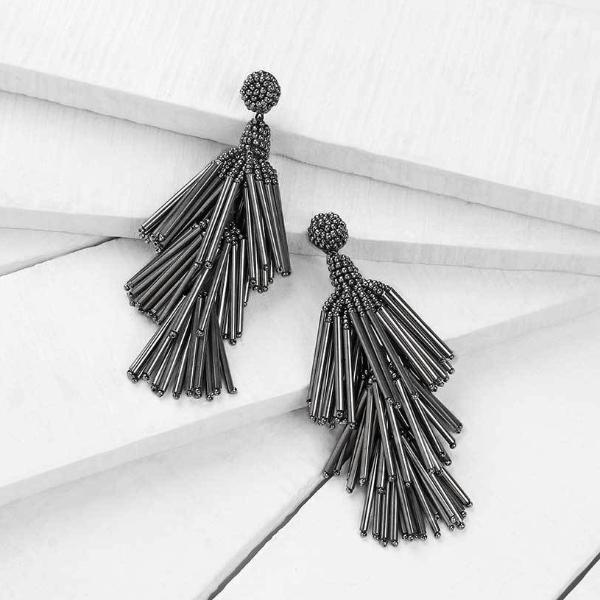 Deepa by Deepa Gurnani Handmade Gunmetal Color Rain Earrings on Wood Background