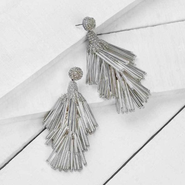 Deepa by Deepa Gurnani Handmade Silver Color Rain Earrings on Wood Background