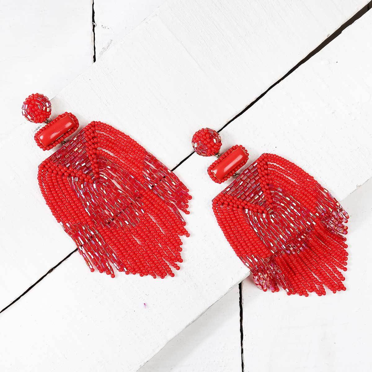 Handmade Embroidered Deepa by Deepa Gurnani Red Jody Earrings