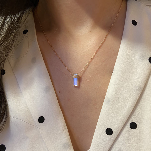 Moonstone Huggie Necklace