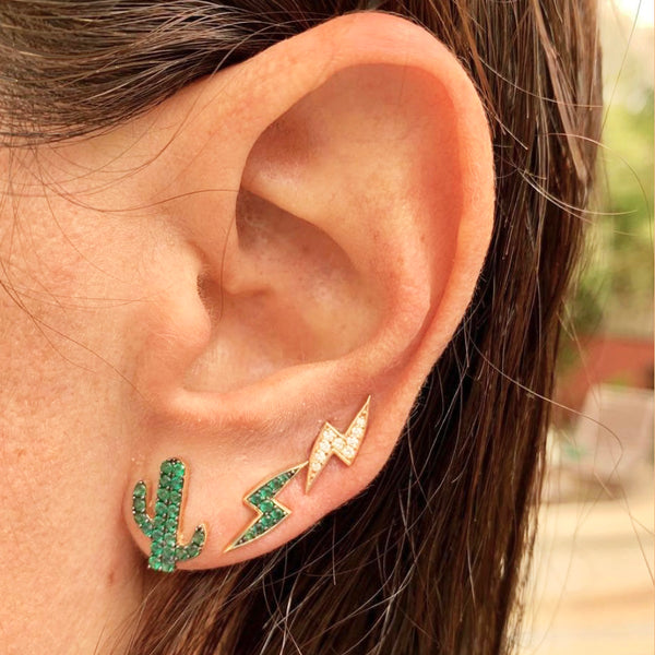 Mini Cactus Emerald Stud