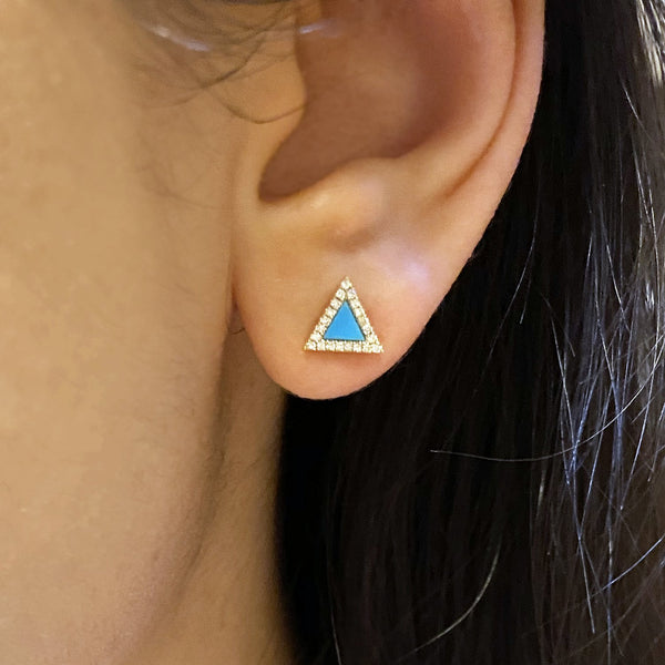 Triangle Turquoise Diamond Studs