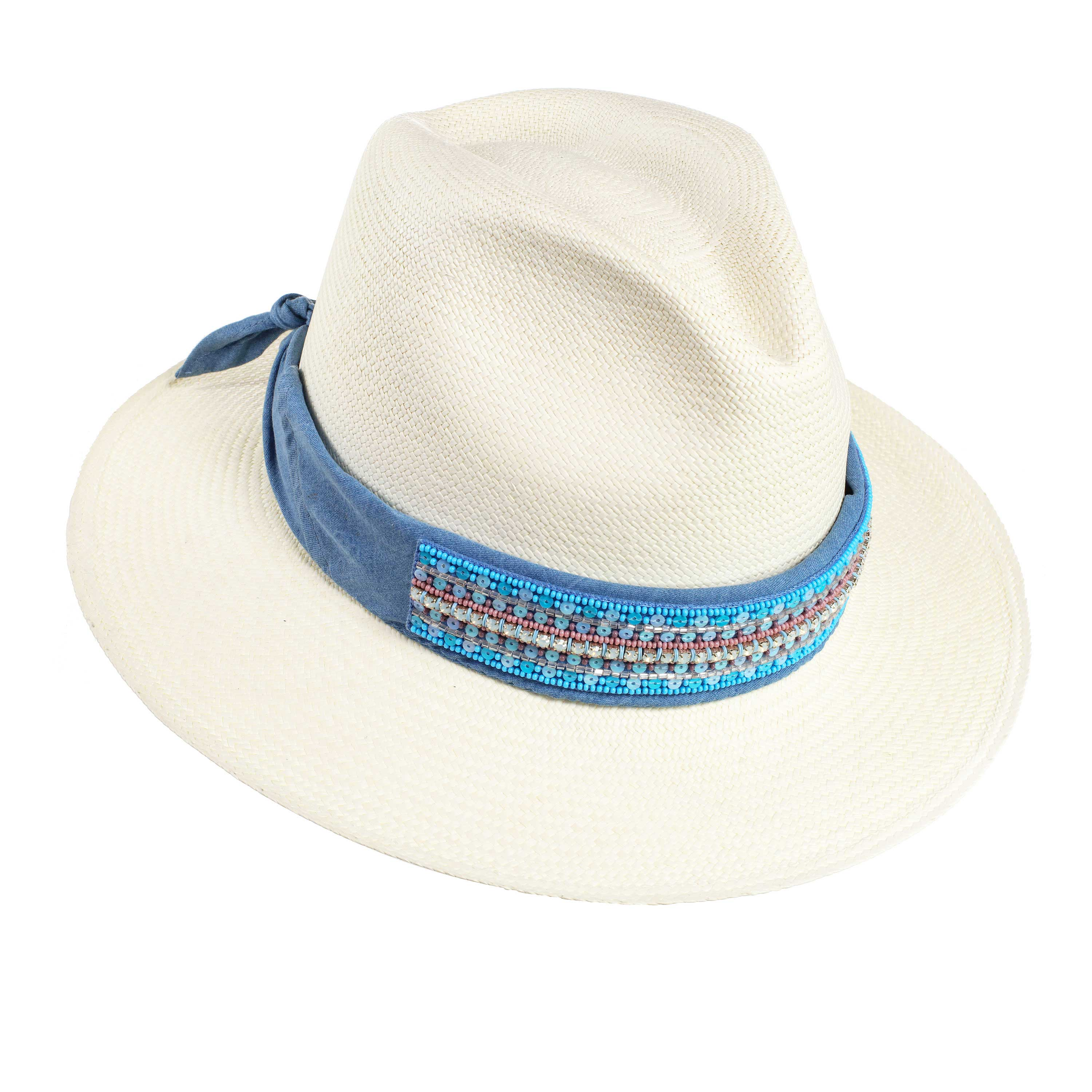 ST. TROPEZ LIGHT BLUE PANAMA HAT