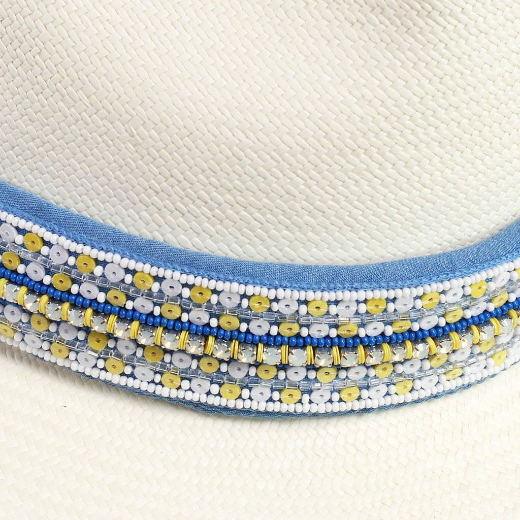 St. Tropez Yellow Sequins Panama Hat