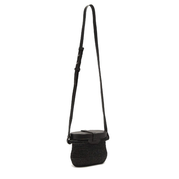 Jabu Black Straw Shoulder Bag