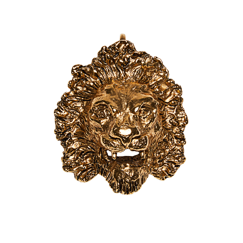 Lion Head Clip On Bag Charm Gold