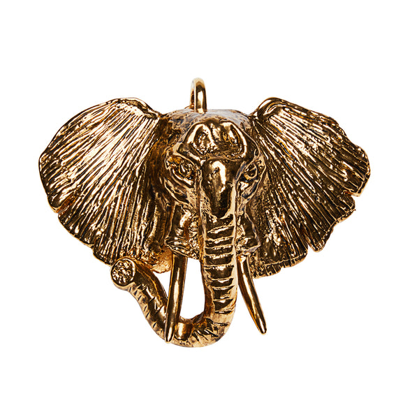 Large Elephant Clip On Charm Gold
