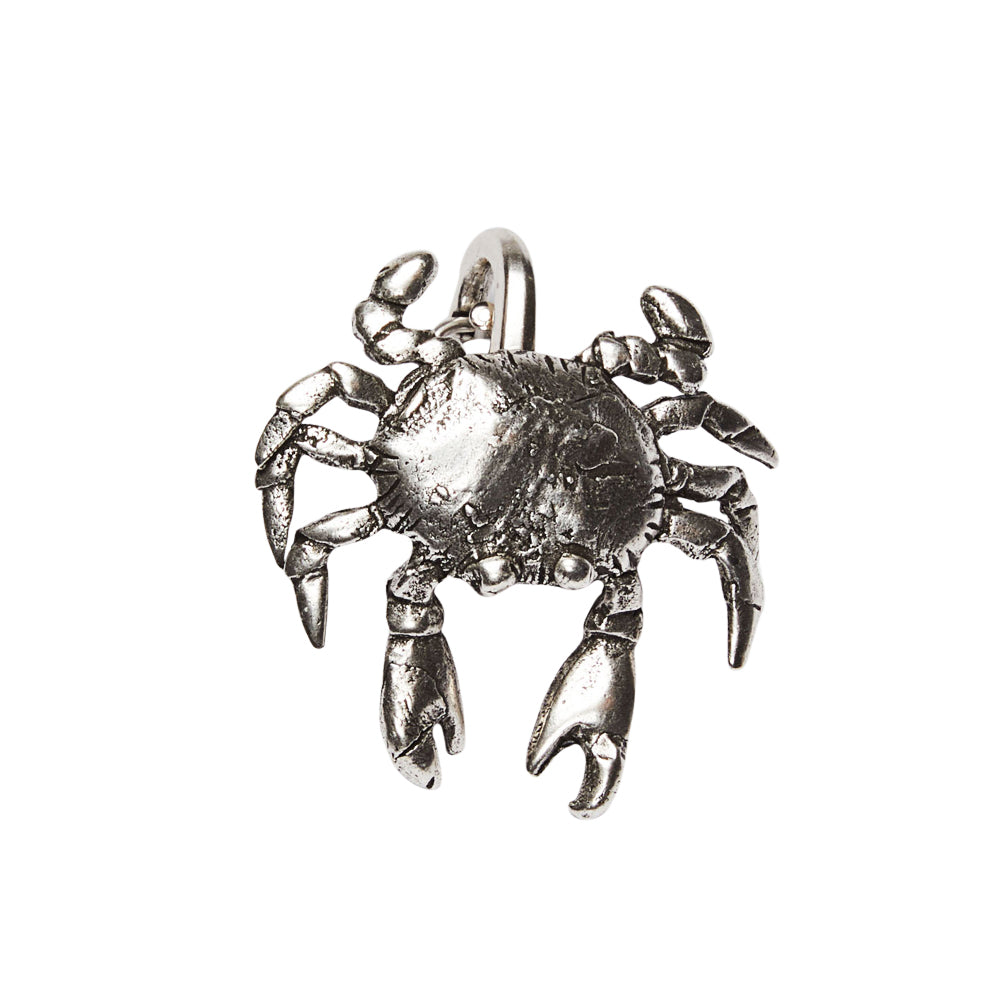 Crab Clip On Charm Silver
