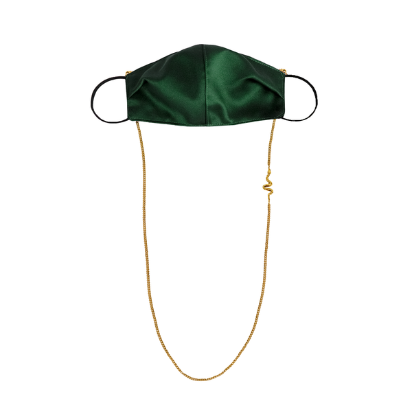 Satin Mask with Snake Chain Green
