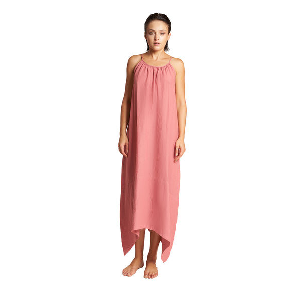Mazatlan Asymmetrical Linen Dress in Rose